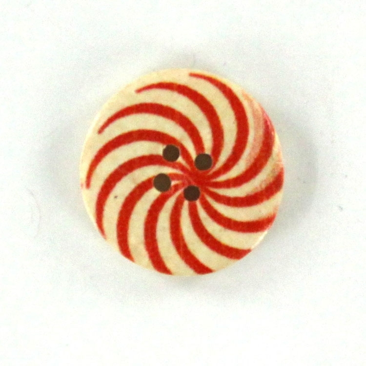 Wooden button whirlpool 2,5 cm, red