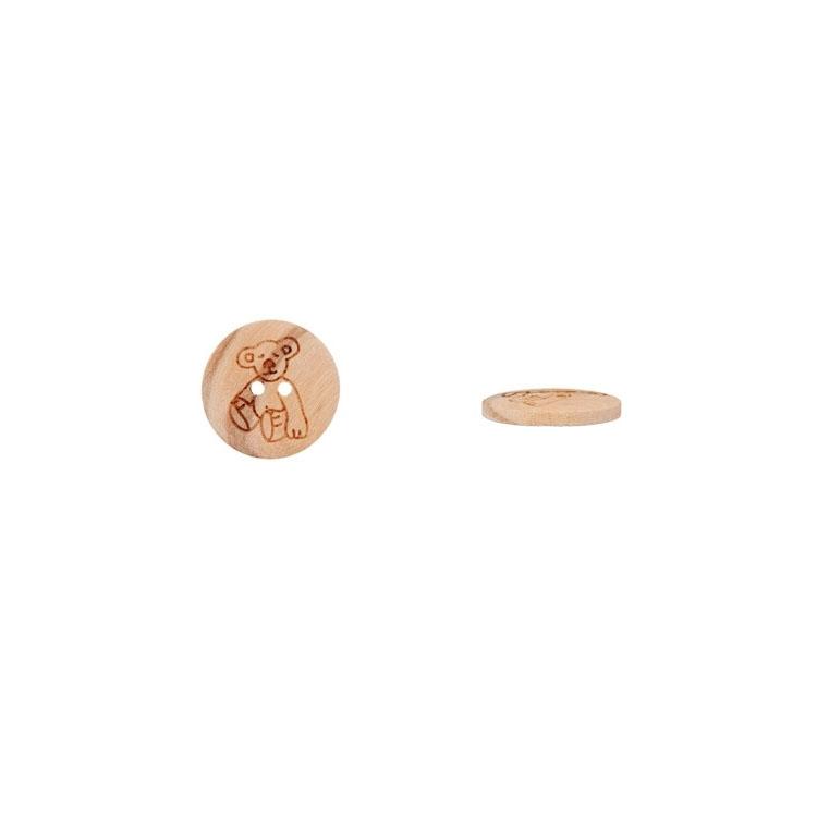 2-Lochknopf mit Bärenmotiv aus Naturholz