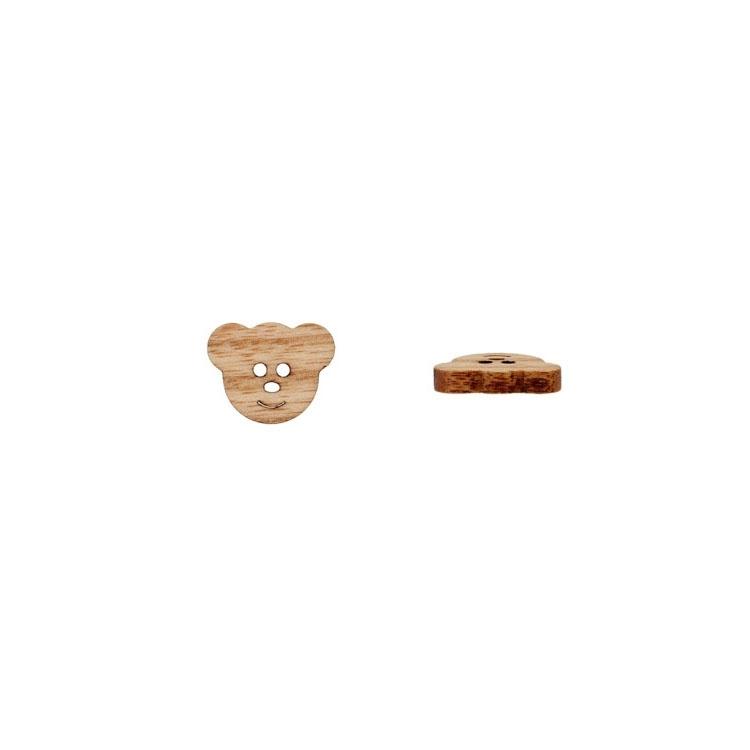 2-Lochknopf 'Bärengesicht' aus Naturholz