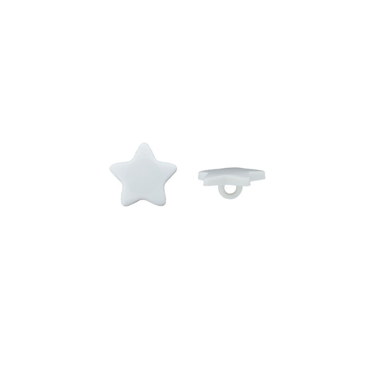 Children Button Shank Star, blanc 15 mm