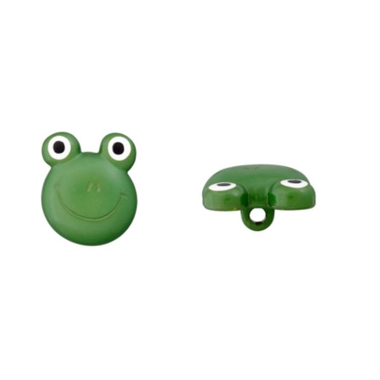Kinderösenknopf 'Frosch' in Grün