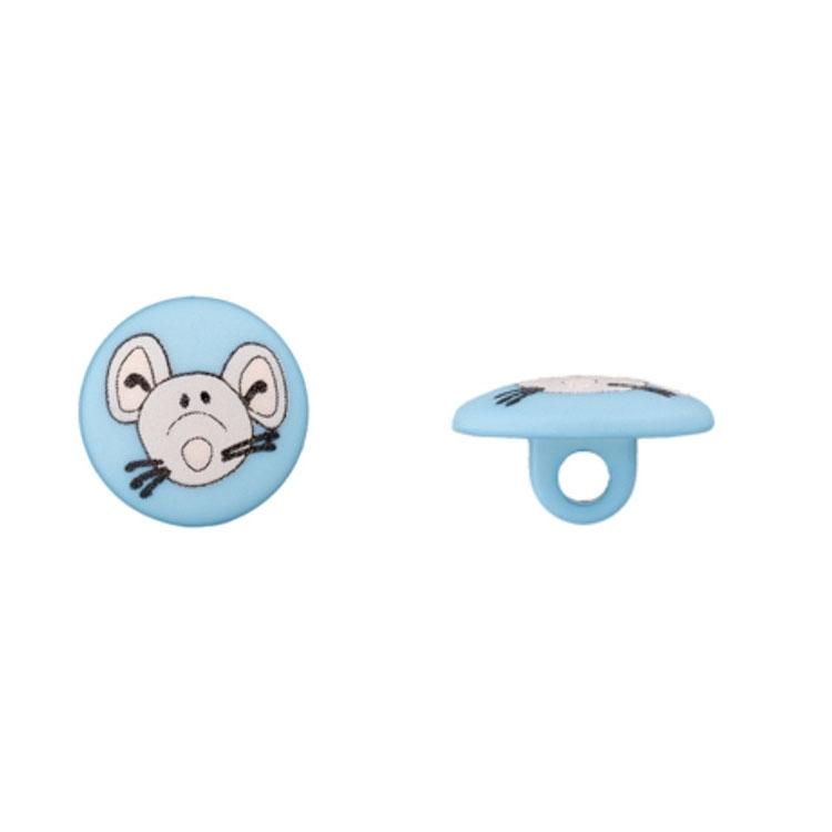 Ösenknopf in Hellblau mit Maus
