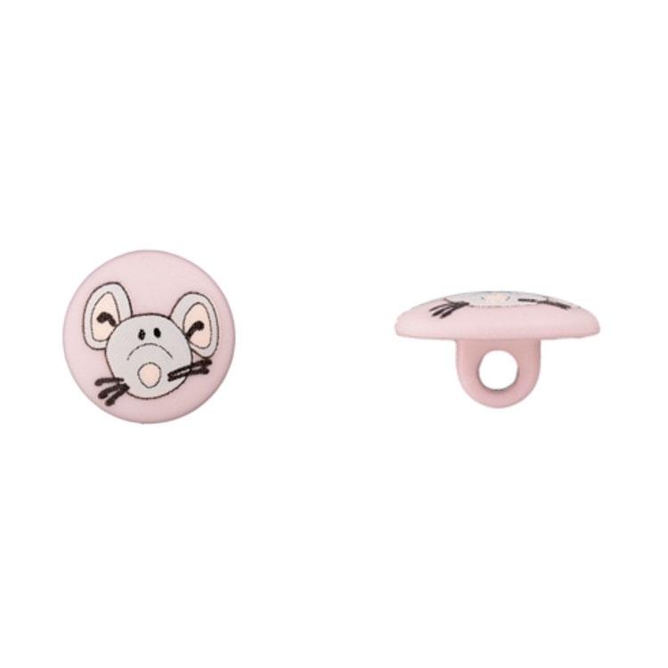Ösenknopf mit Mäusemotiv in Rosa