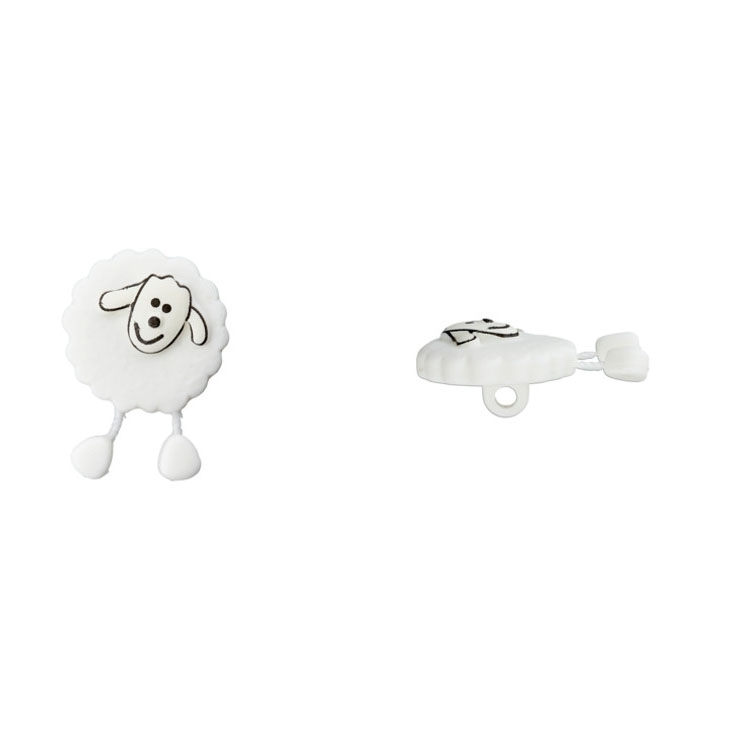 Knop sheep, wit 18mm
