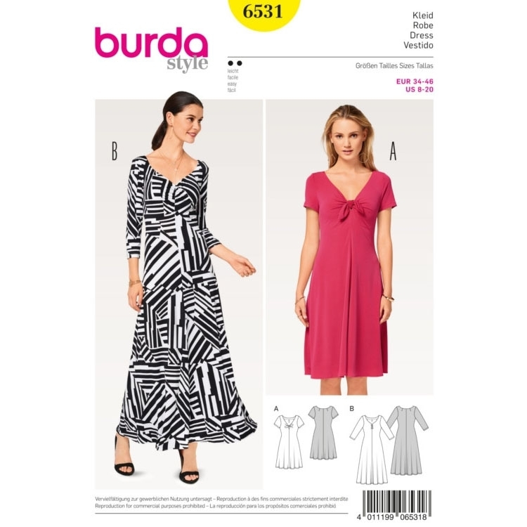 Kleid , Shirtkleid , Jerseykleid, Burda 6531