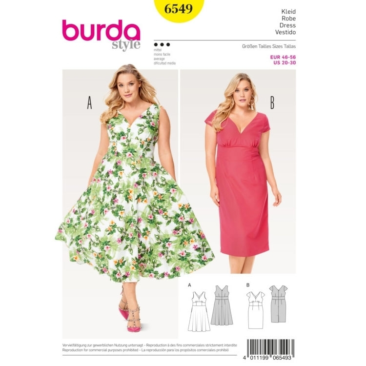 Dress , Waist Band ,  Small Sleeves, Burda 6549