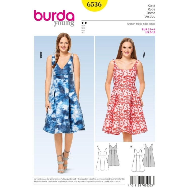 Dress , Strap Dress , High Waist, Burda 6536