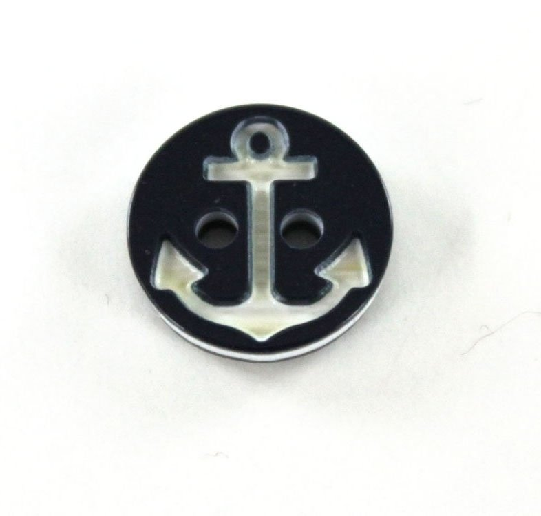 Bouton Ancre 13 mm, marine