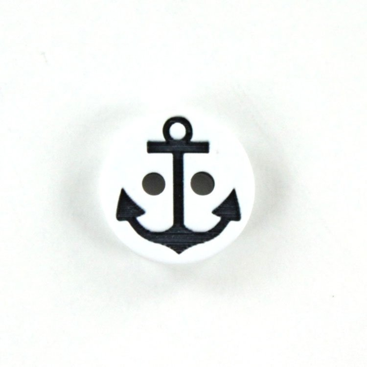 Button anchor 13 mm, white-navy