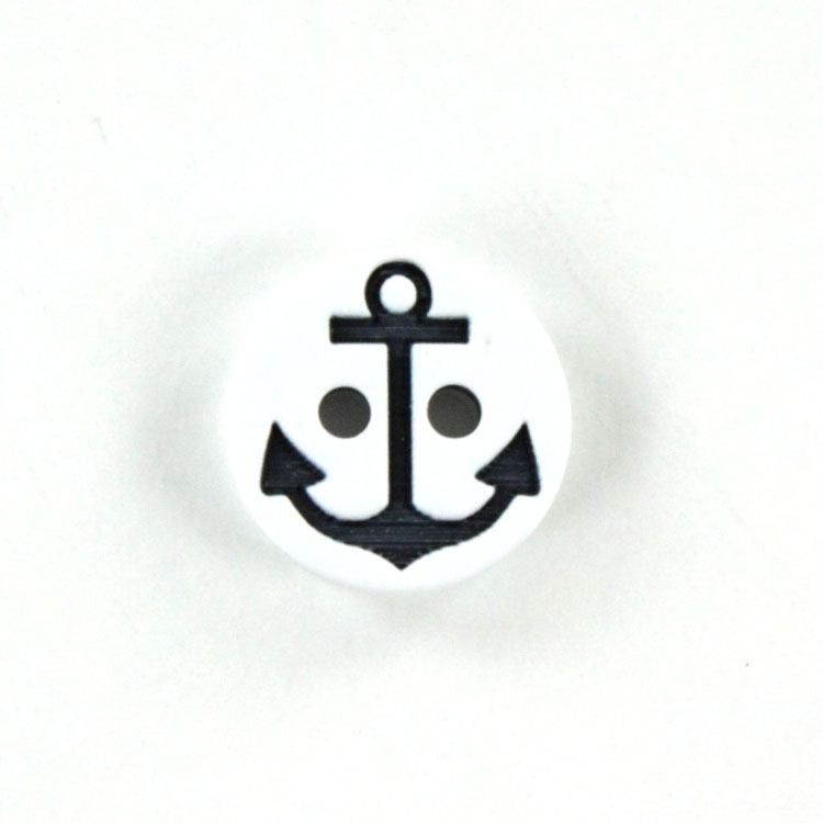 Button anchor 13 mm, white / navy blue
