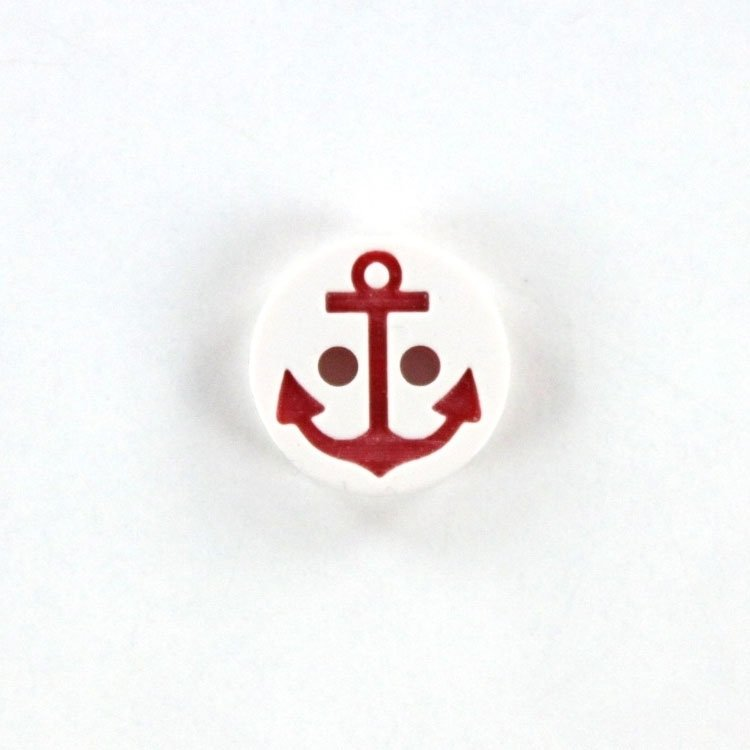 Bouton Ancre 13 mm, blanc-rouge