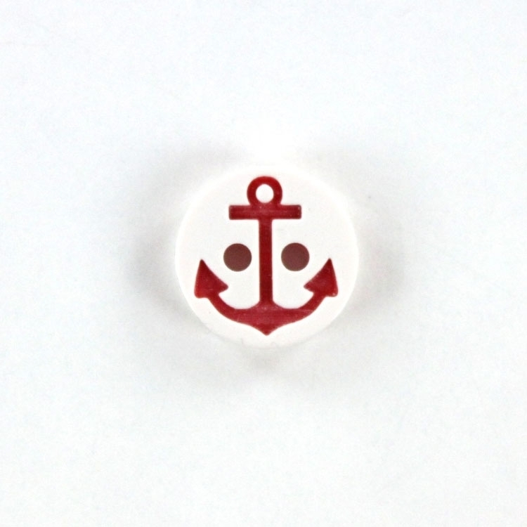 Knopf Anker 13 mm, weiss-rot
