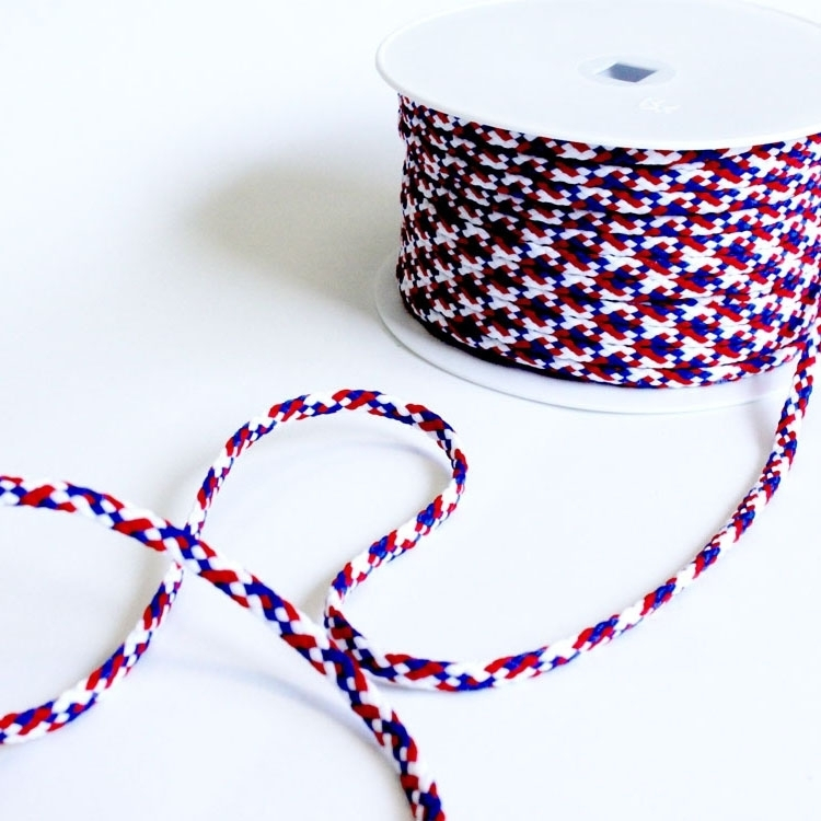 Cord plaited, 6 mm, red-blue-white