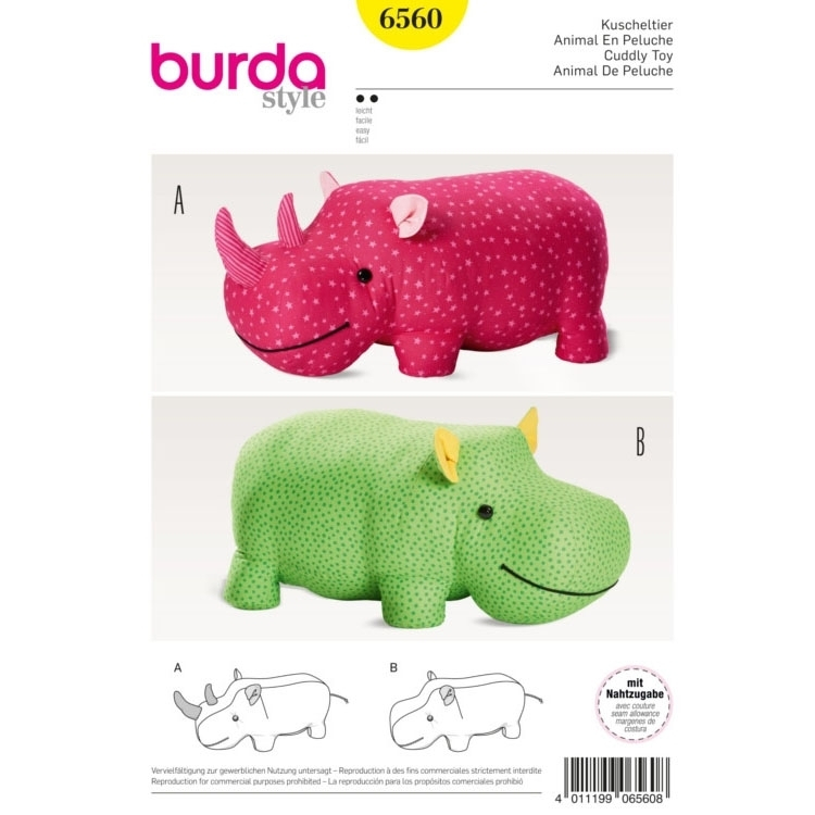Stuffed Animals , Hippo , Rhino , XXL-Stuffed Animal, Burda 6560