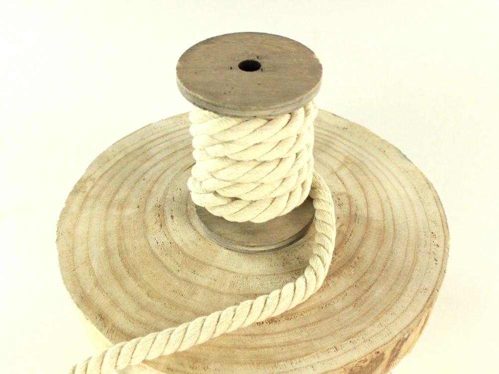 Cotton cord twisted, 12 mm, natural