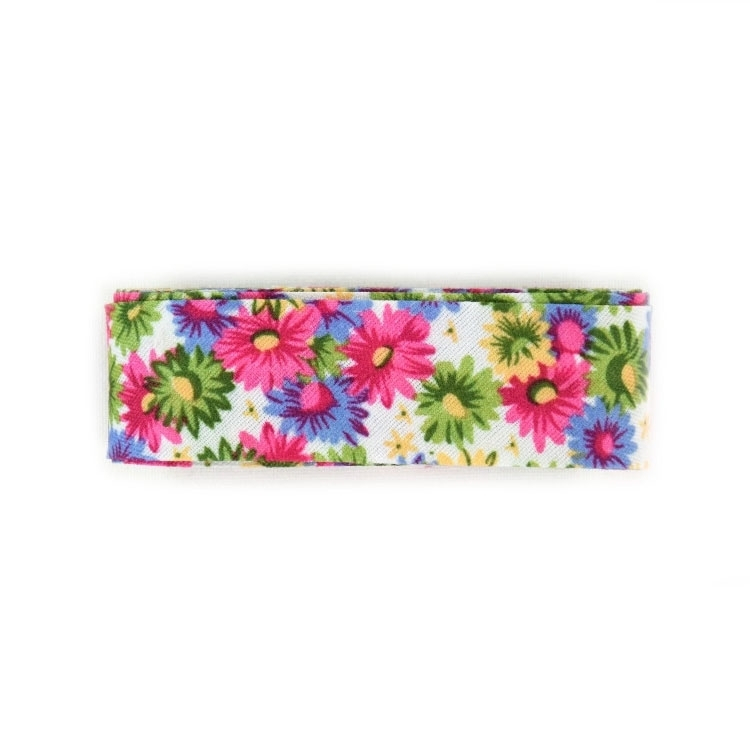 Mini-Flower bias tape, 3m pcs., blanc-multicoleur