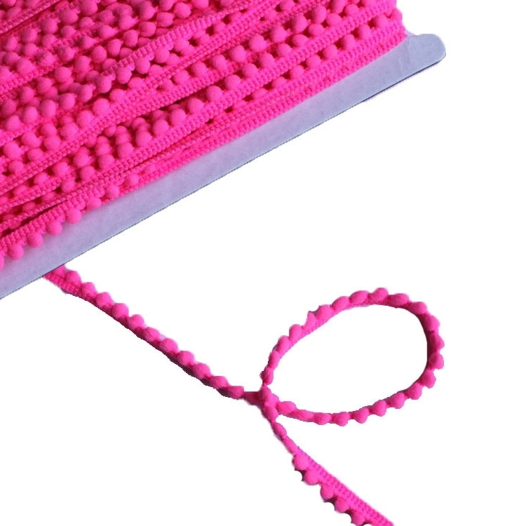 Ruban à mini pompons, neon fuchsia 10 mm