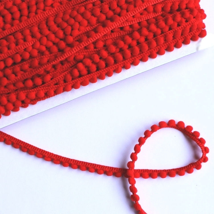 Pom pom trim small, 10 mm, red