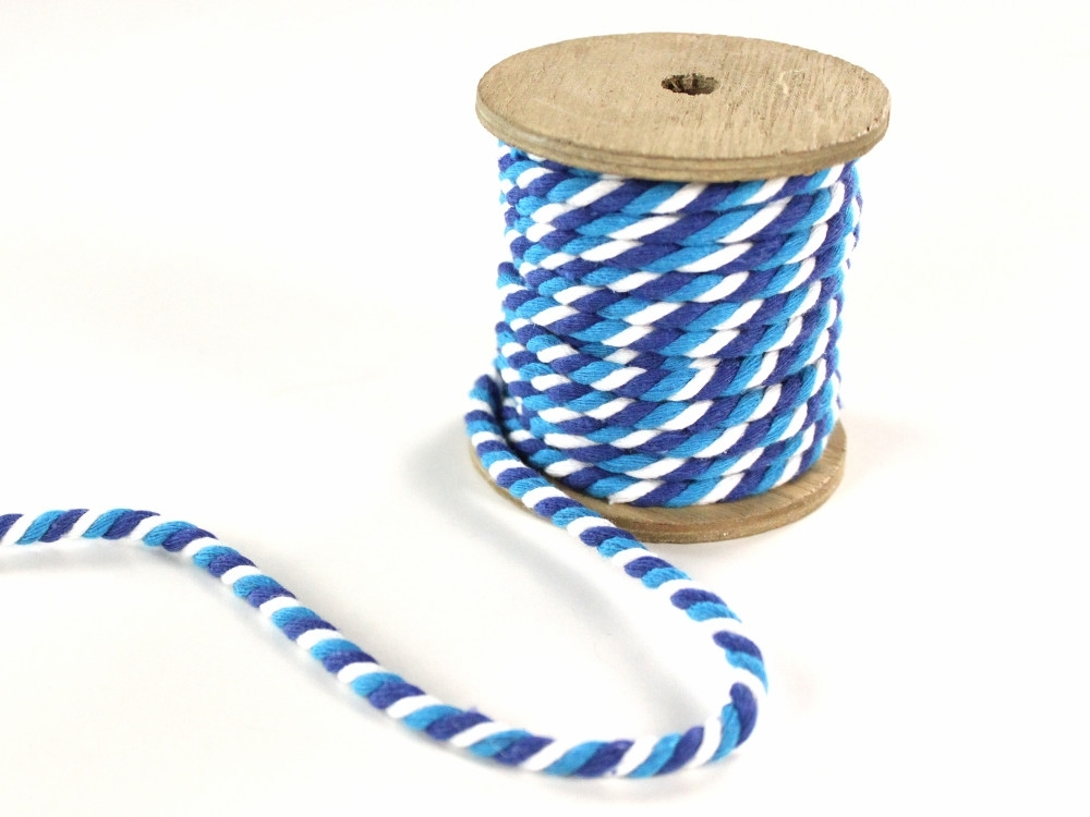 Multicolour twisted cord, 5 mm, blue / white