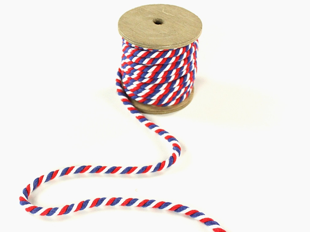 Multicolour drawstring twisted, blue, white, red, 5 mm