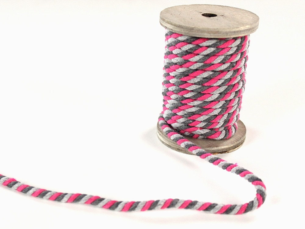 Multicolour twisted cord, 5 mm, grey / pink