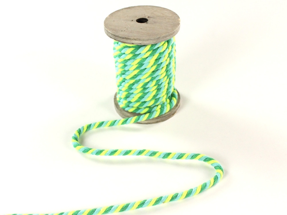 Multicolour drawstring twisted, green, 5 mm