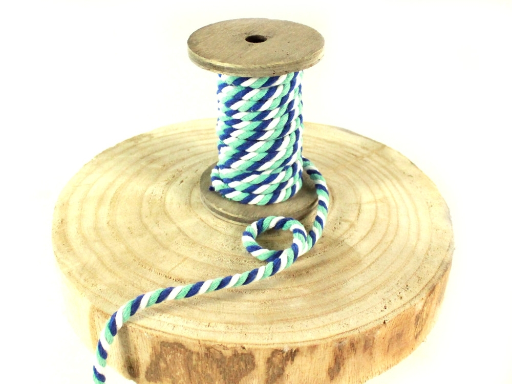 Multicolour drawstring twisted, bleu, mint, blanc, 6mm