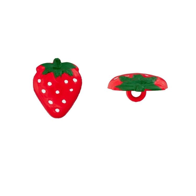 Erdbeerknopf zum Nähen und Basteln