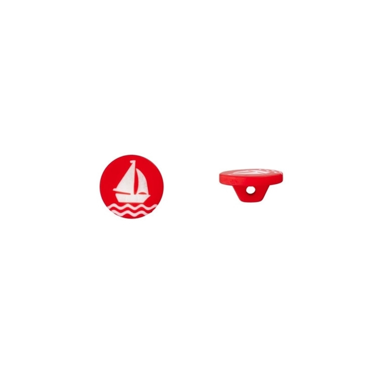 Fashion Button Sailing Boat, red 15 mm