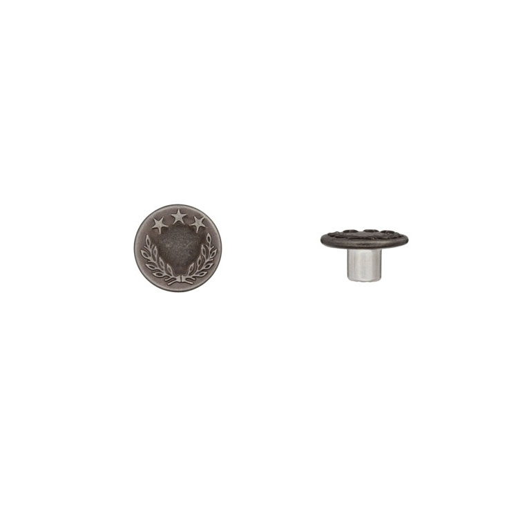 Patent knop, zilver 18 mm