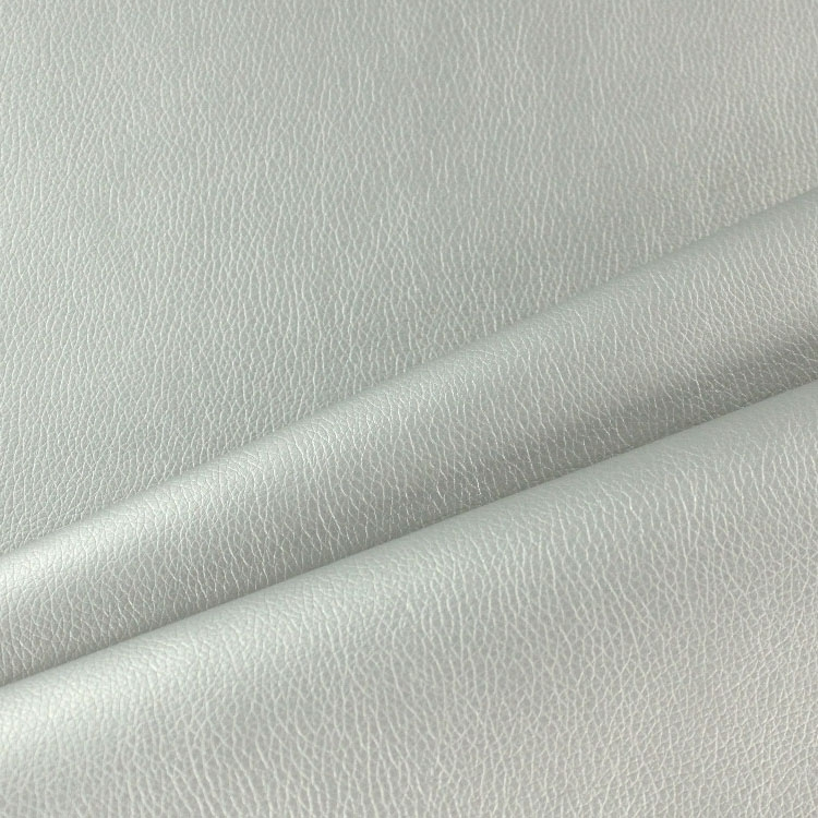 Leatherette upholstery fabric plain, silver
