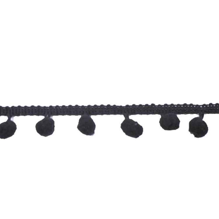 Pom-pom trim middle, black 20 mm