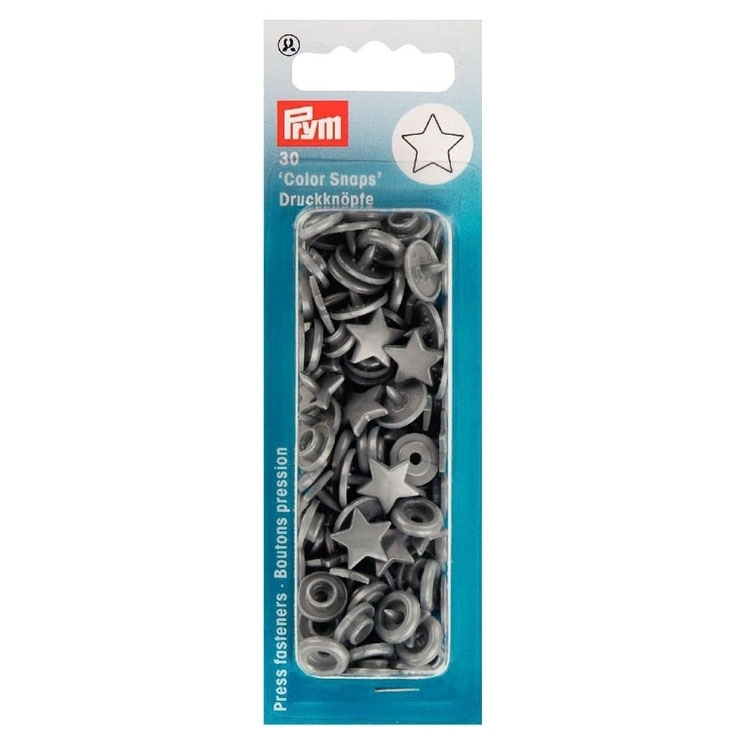 Press fasteners, star, dark grey