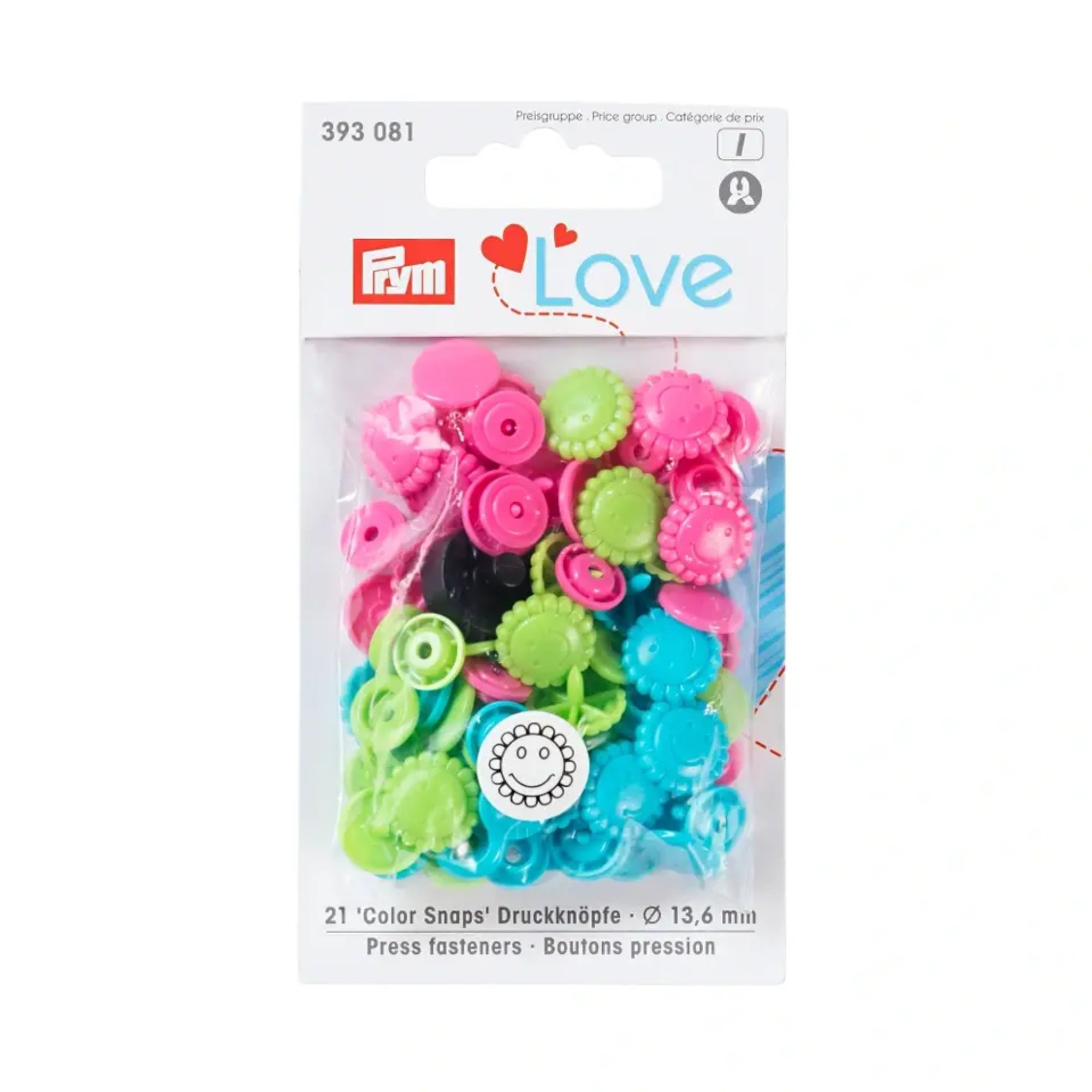 Boutons pression Color Flower Mix green