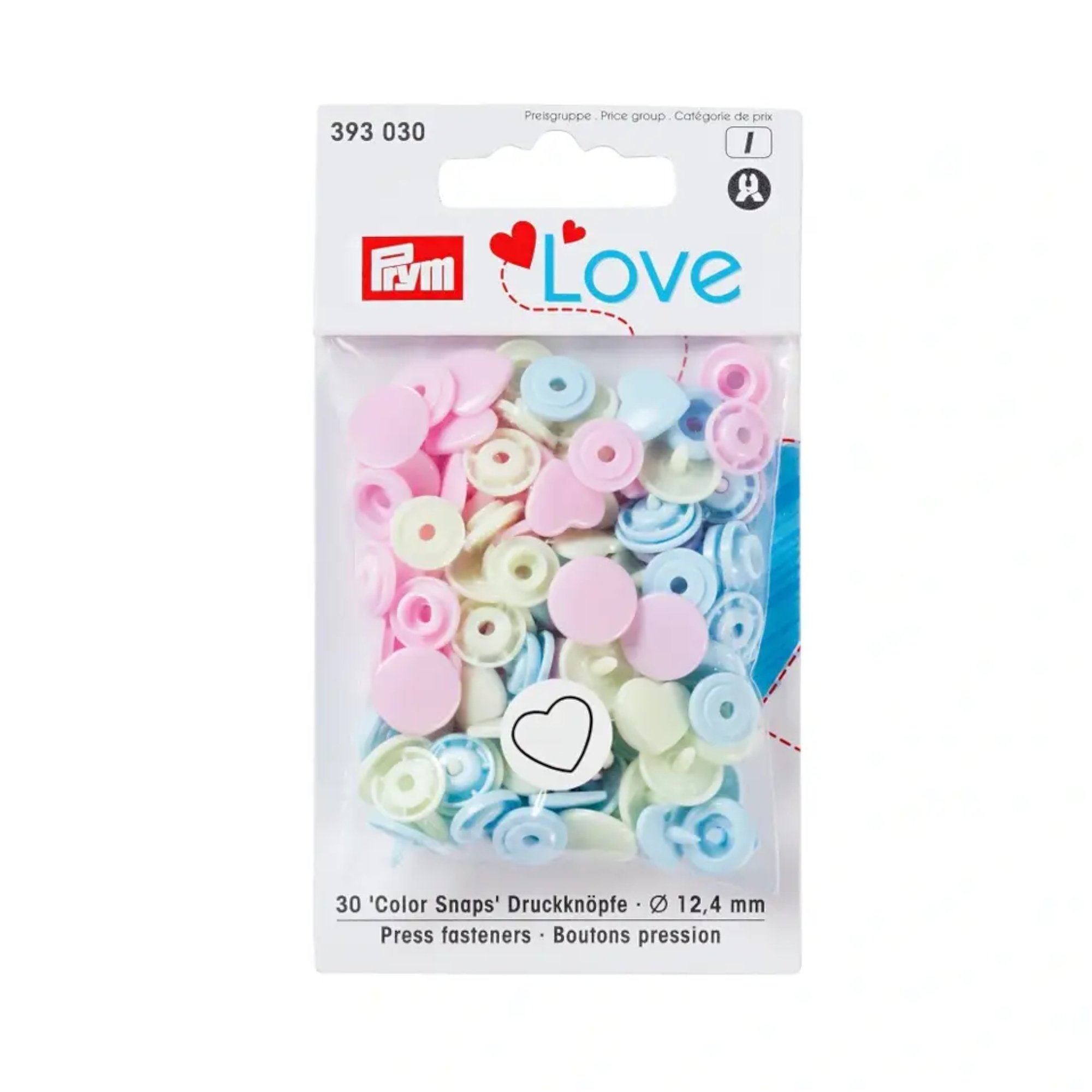 Boutons pression Color Heart light blue