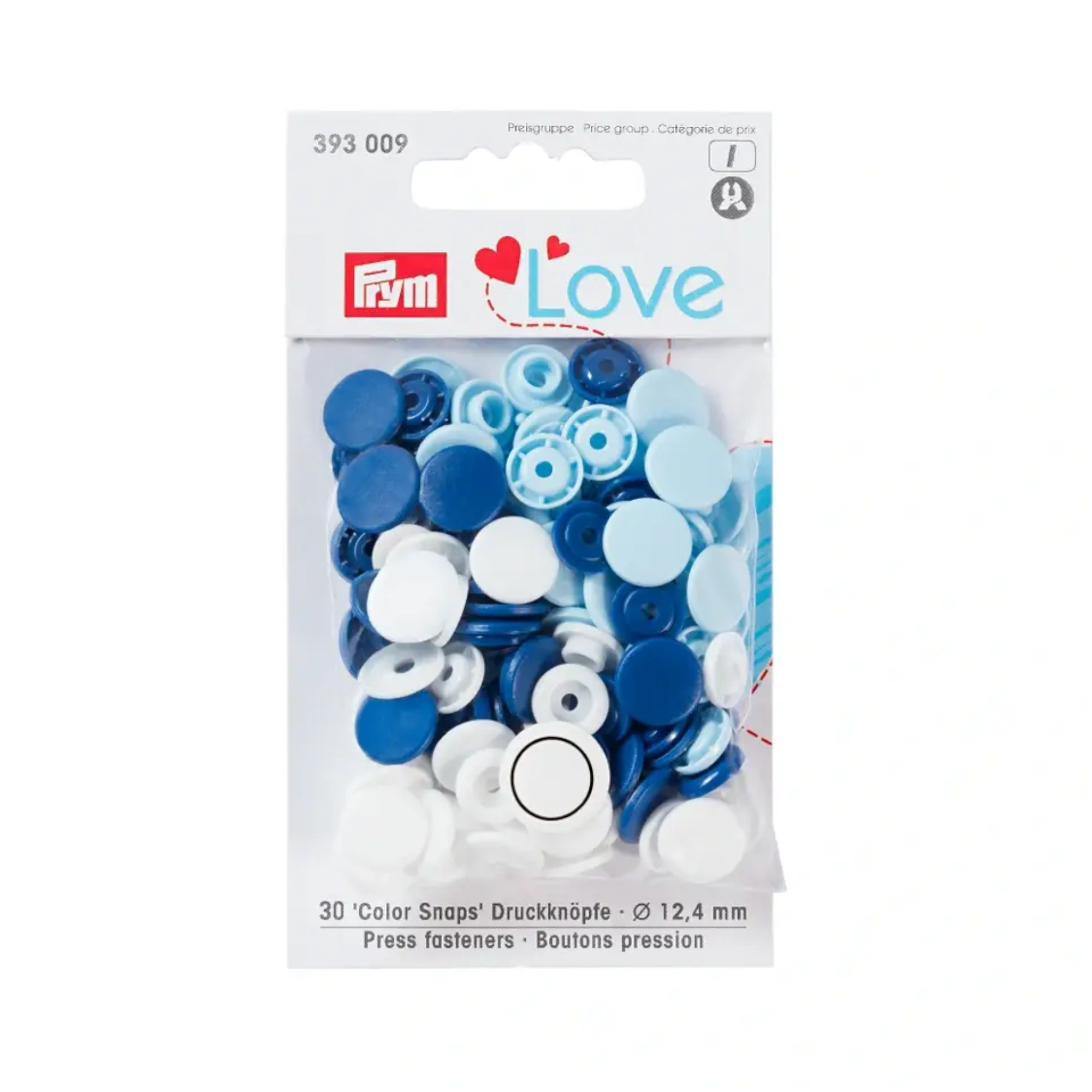 Prym Love pression button Color KST 12,4mm blue/white/light blue