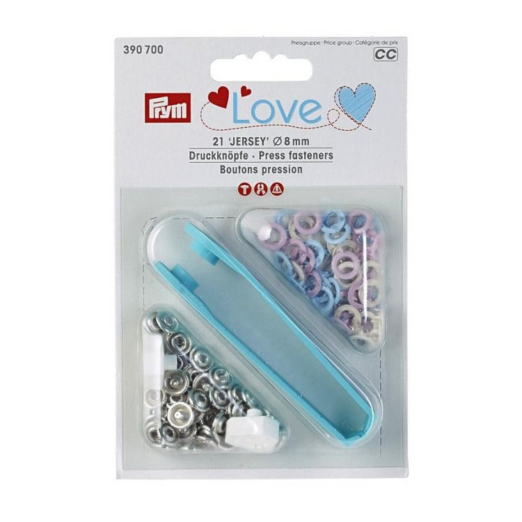Prym Love Boutons pression 8 mm bleu clair, rose