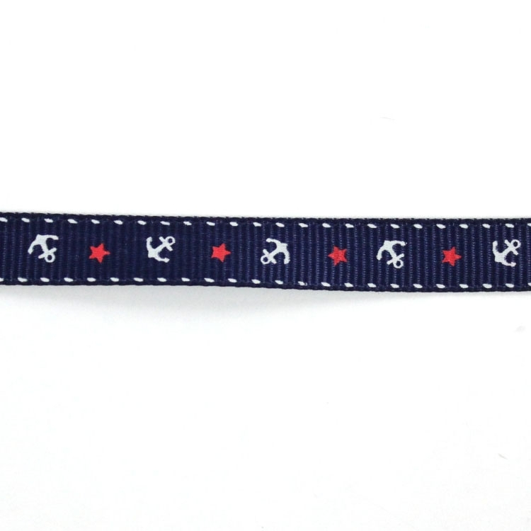 grosgrain anchor and stars, navy