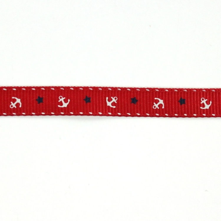 Ruban de reps anchor and stars, red