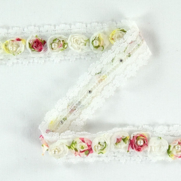 Lace trimming roses with pearls, multicolour 30 mm