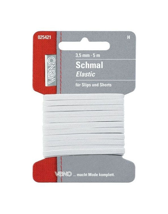 Slim-Elatic-band, 5 m, 3,5 mm breed, wit