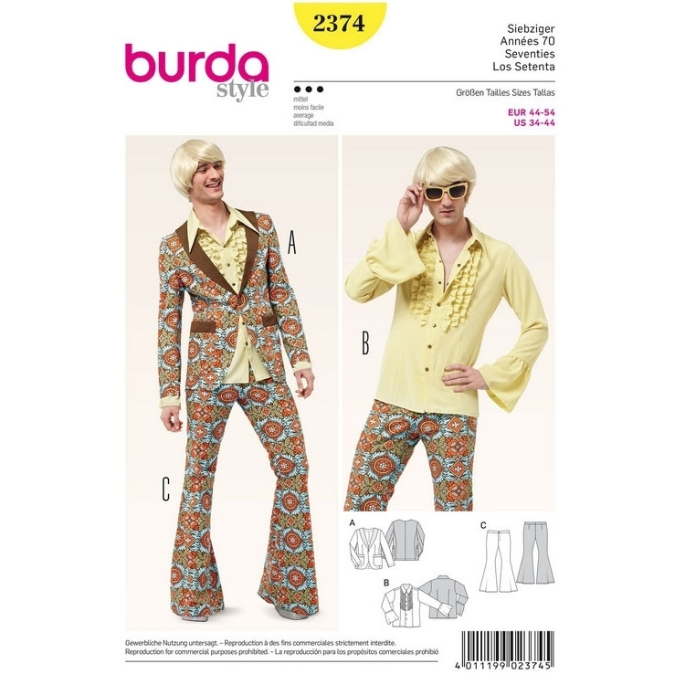 Sewing pattern seventies party costume gents, Burda 2374
