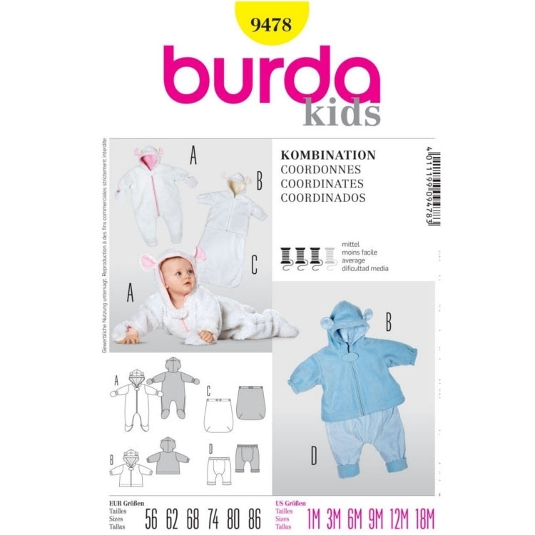 Paper Pattern Baby Combination, Burda 9478 | fabrics-hemmers.co.uk