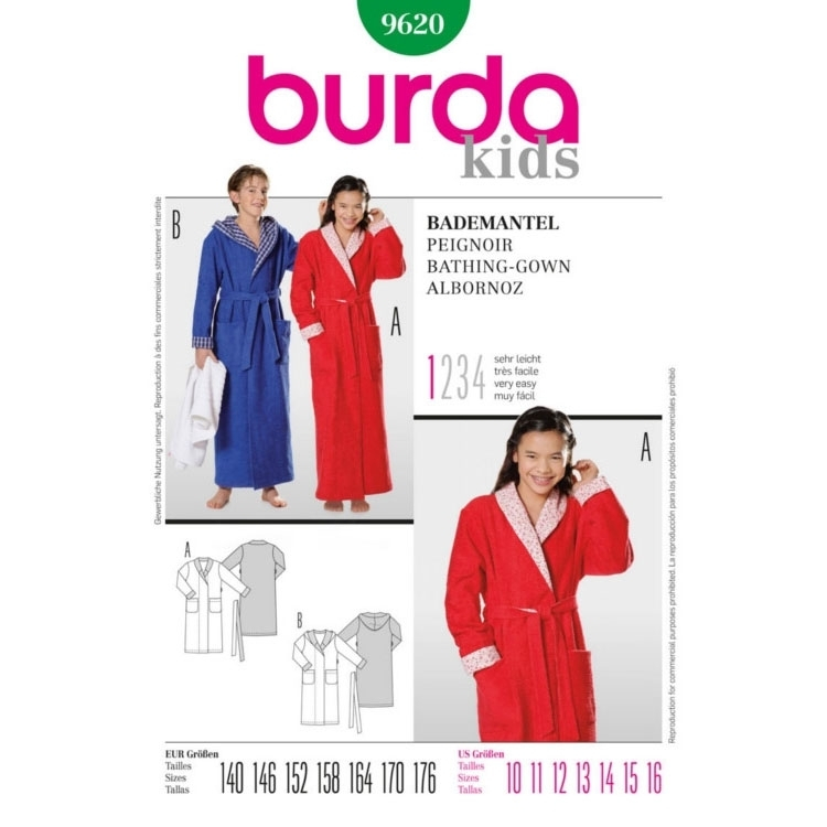 Paper Pattern Bathing Gown, Burda 9620