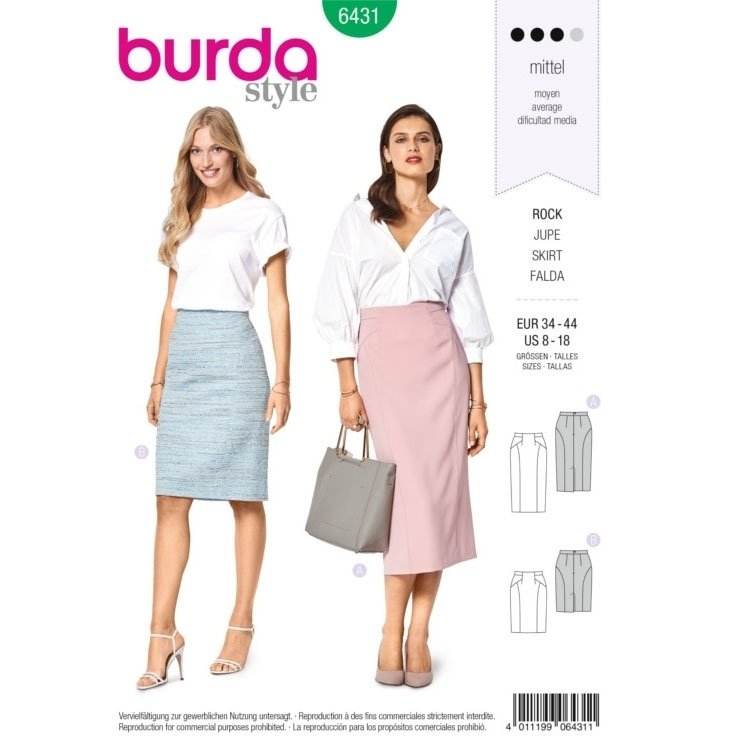 Sewing pattern Burda 6431, pencil skirt | fabrics-hemmers.com