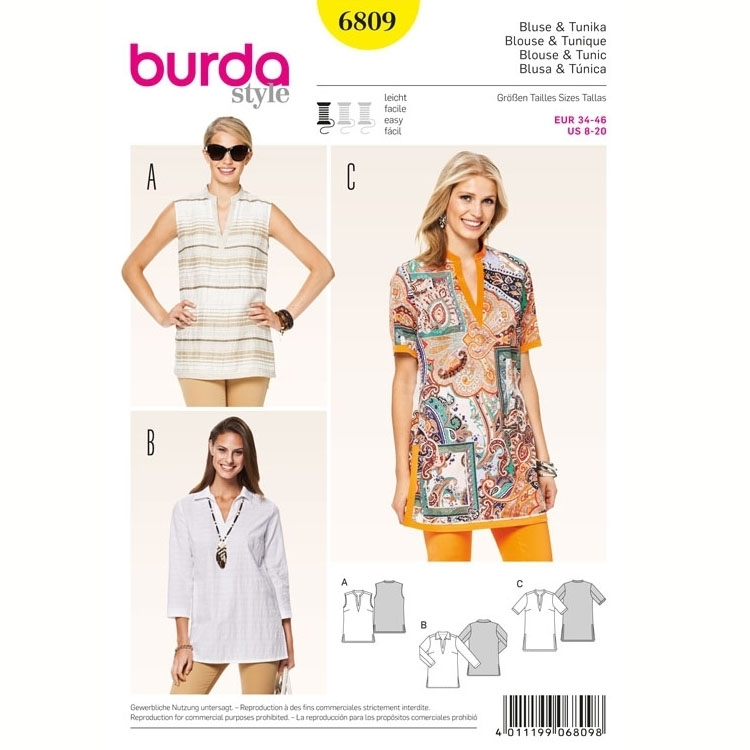 Sewing pattern Blouse & Tunic, Burda 6809