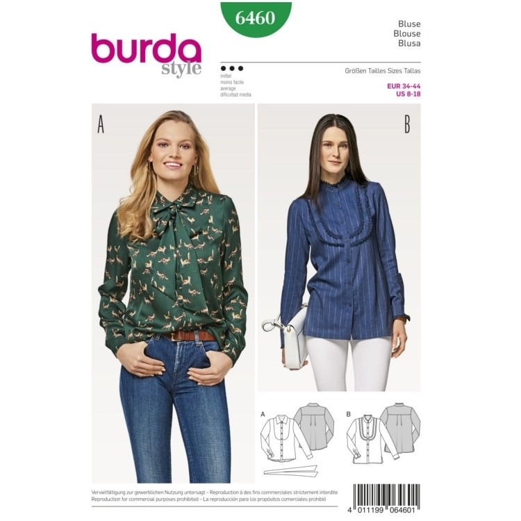 Sewing pattern blouse, Burda 6460 | fabrics-hemmers.com
