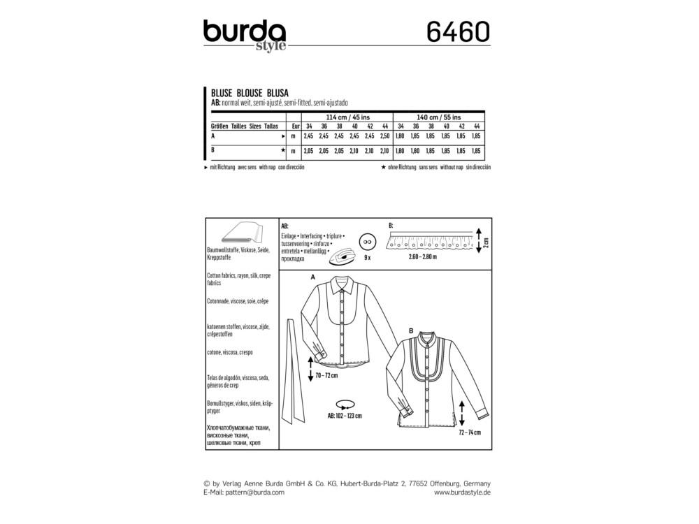 Schnittmuster Bluse, Burda 6460 | stoffe-hemmers.de