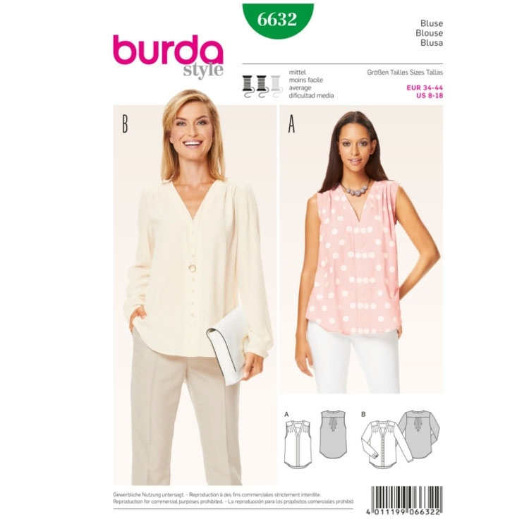 Blouse, Burda 6632 | fabrics-hemmers.co.uk