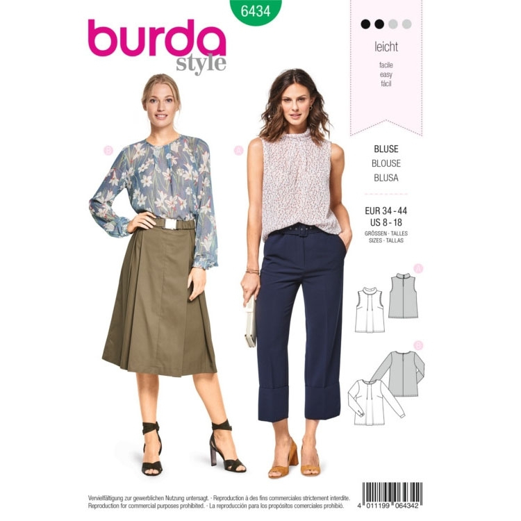 Sewing pattern blouses, Burda 6434